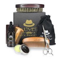 8 pçs kit de óleo barba com escova pente barba creme tesoura grooming & aparamento kit masculino barba cuidado conjunto com saco caixa presente|Lâmina de barbear| |  -