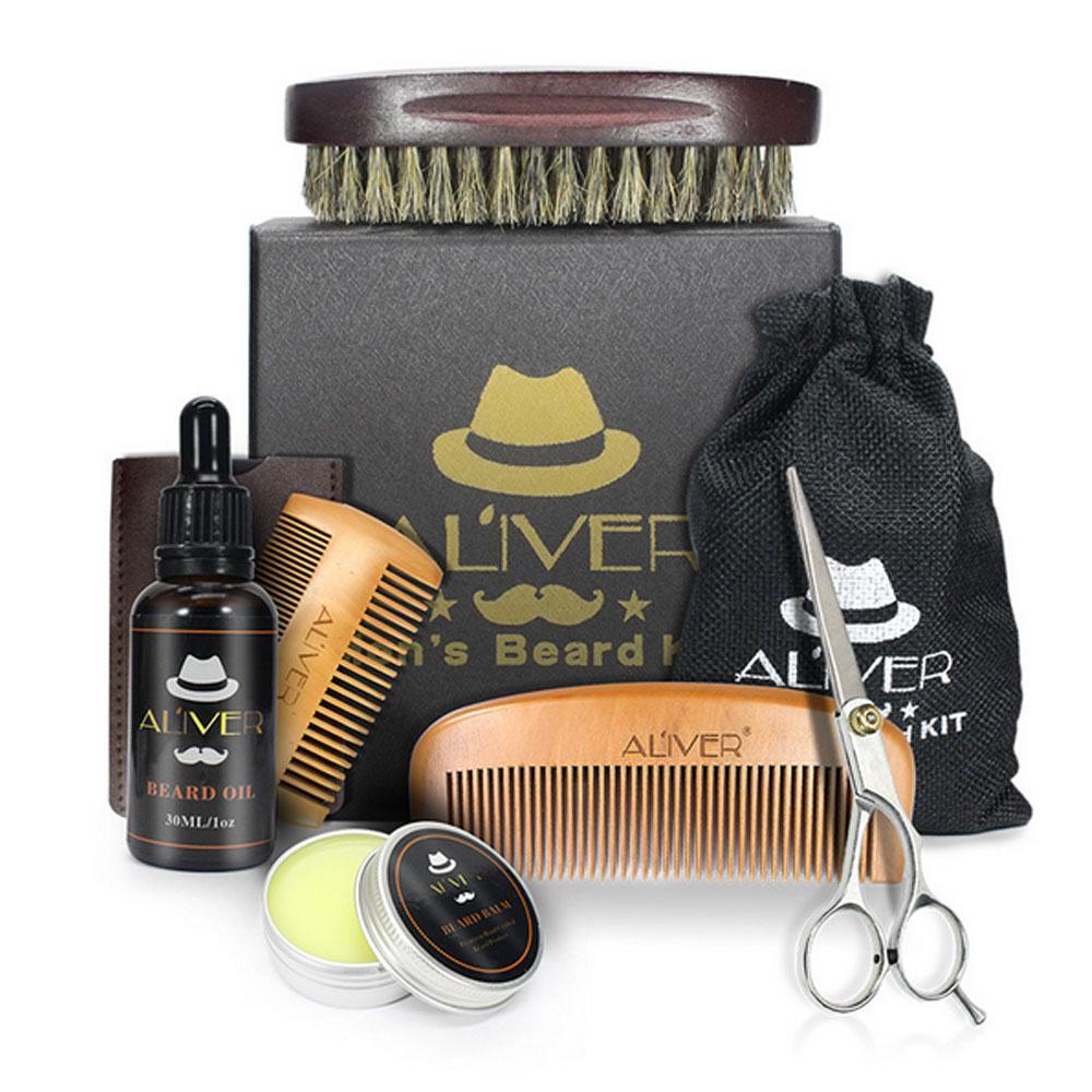 8 pcs Homens Barba Óleo Kit Com Escova Pente Grooming Scissors & Corte Kit Masculino Barba Barba Creme Conjunto de Cuidados com Saco de Caixa de Presente