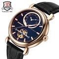 Mens Watches BINKADA Automatic Mechanical Watch Leather Wristwatch relogio masculino Clock Dual Time Zone Mechanical Watches