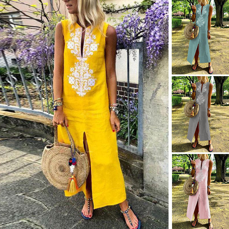 New Summer Women Patchwork Dress Vintage Casual Loose Maxi Long Dresses Stand Neck Sleeveless Beach Dress Vestidos Plus Size