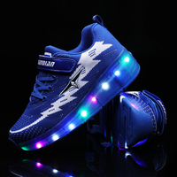 28 40 Size/ USB Charging wheel shoes Led Children Shoes With Light Up Kids Casual Boys&Girls Luminous Sneakers Glowing Shoe