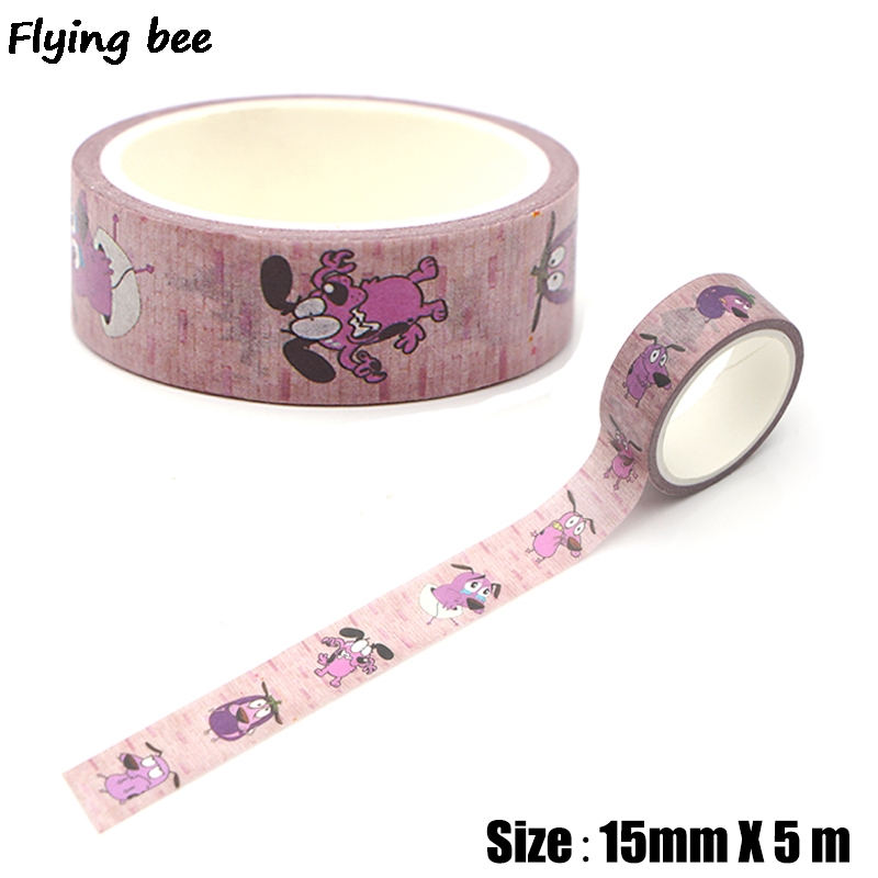 Flyingbee 15mmX5m Creative Theme Cartoon Paper Washi Tape Cute Dogs Adhesive Tape DIY Label Masking Tape X0314