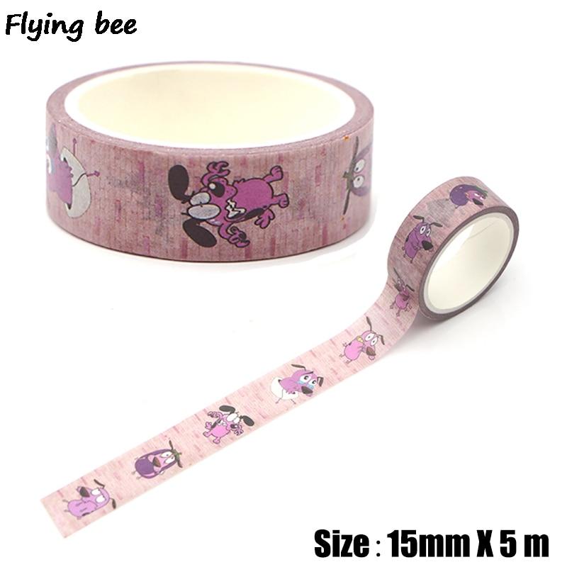 Flyingbee 15mmX5m Creative Theme Cartoon Paper Washi Tape Cute Dogs Adhesive Tape DIY Label Masking Tape X0314