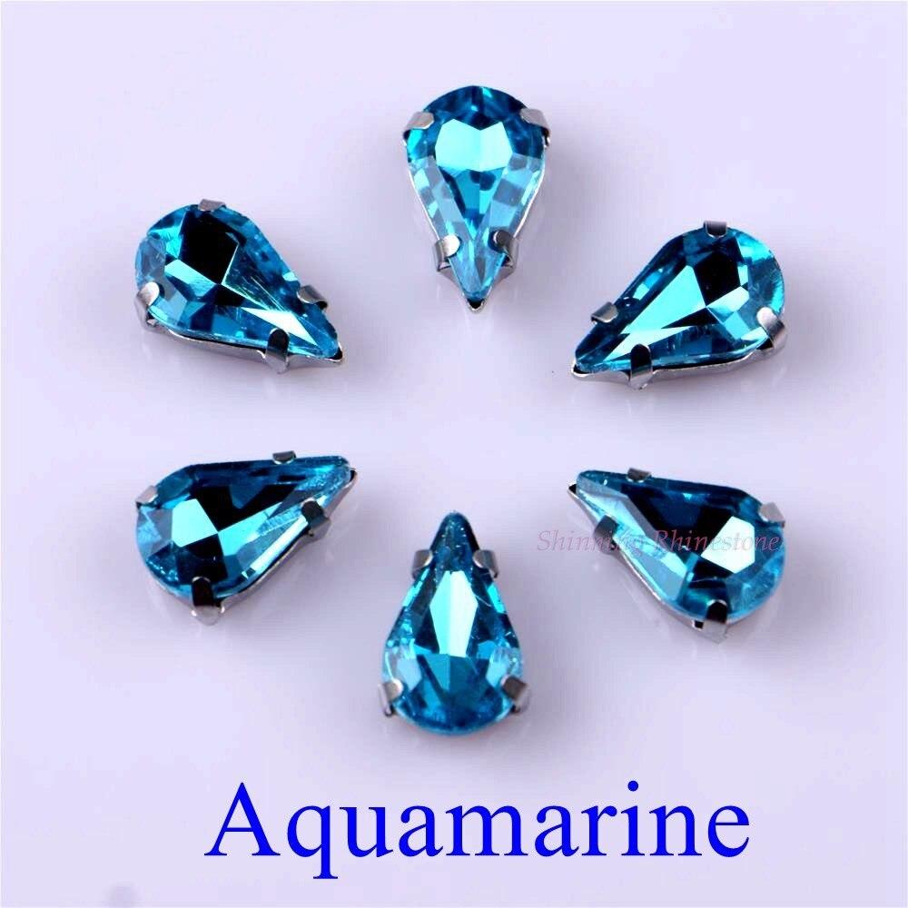 Узкий Каплевидная форма стеклянные стразы с когтями пришить с украшением в виде кристаллов Камень страз с алмазными металлическими Базовая Пряжка 20 шт./упак - Цвет: Aquamarine
