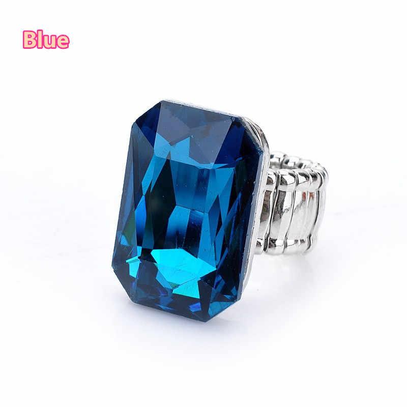 2018 บุคลิกภาพ Elegant Big แหวนสำหรับสตรี 7 สีขนาดใหญ่เรซิ่นหินแฟชั่นยืดแหวนนิ้วมือเครื่องประดับคริสต์มาสของขวัญ