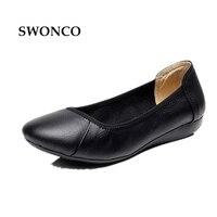 SWONCO דירות של נשים 2018 נעלי נשות גבירותיי נעלי נעלי נשי עור האביב \ סתיו 43 נשי שחור מזדמן נעלי בלט