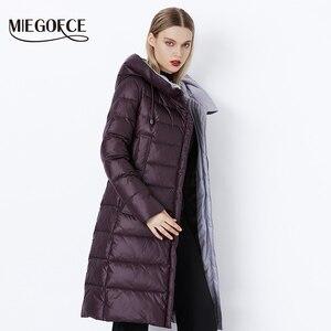 Image 2 - Miegofce 2020 Jas Winter Vrouwen Hooded Warme Parka Bio Pluis Parka Jas Hight Kwaliteit Vrouwelijke Nieuwe Winter Collectie hot