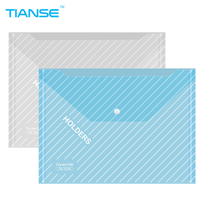 TIANSE A4 button file bag transparent PP plastic document bag stationery organizer paper file folder pen storage walllet holder 4 pieces lot transparent box file document organizer plastic folder a case for documents stationery