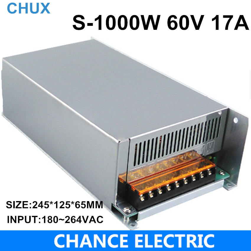 Switching power supply 1000W 60V 17a AC to DC input 110v or 220v select by switch 1000w ac to dc power supply