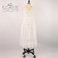 Design U Dress Real Picture 2017 White Beach V Neck A Line Draped Arabic Wedding Bridal
