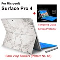 2017 Hot Sale For Surface Pro 4 Stickers Tablet Vinyl Decal Netbook Marble Skin+Explosion-proof Tempered Glass Screen Protector