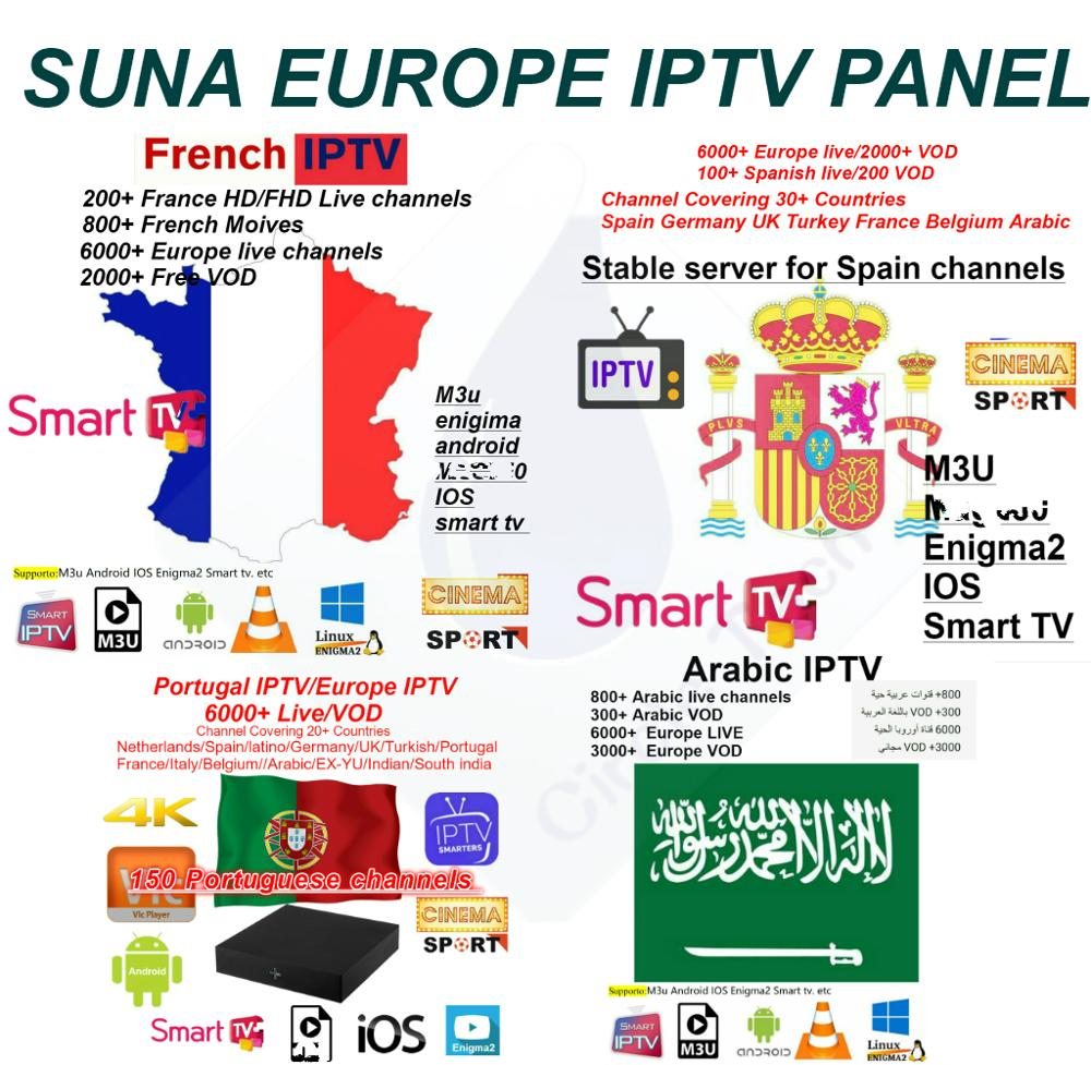 SUNA IPTV PANEL Spain IPTV Spanish Channel M3u Abonnement Iptv Spaans France  Portugal Voor Android Box Enigma2 M3u Smart TV