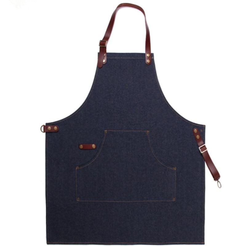 Black Blue Denim Bib Apron Tali Kulit Tukang Gunting Rambut Tukang - Barang dagangan isi rumah