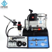 OPHIR 3 Airbrush Kit & Compressor with Tank Set Spray Air Brush Set for Nail Craft Art Paint_AC116+004A+071+073