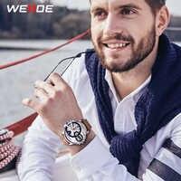 WEIDE Mens Luxury Brand Brown Leather Strap Band Quartz Movement Analog Business Clock Sports Wrist Watches Relogio Masculino
