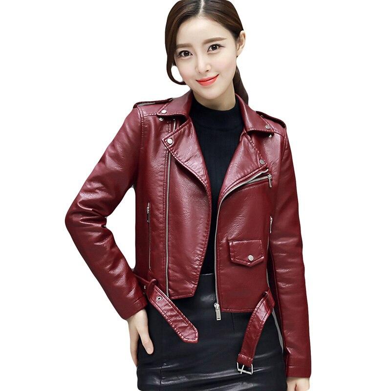 2017 New Autumn Fashion Women Short Washed PU   Leather   Jacket Zipper Bright Colors New Female Jackets Slim Casual Coat YP0331