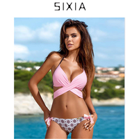 Sixia Sexy Pink Women Bandage Bikinis Set Thong Female Push Up Strappy High Waist Swimwear Brazilian