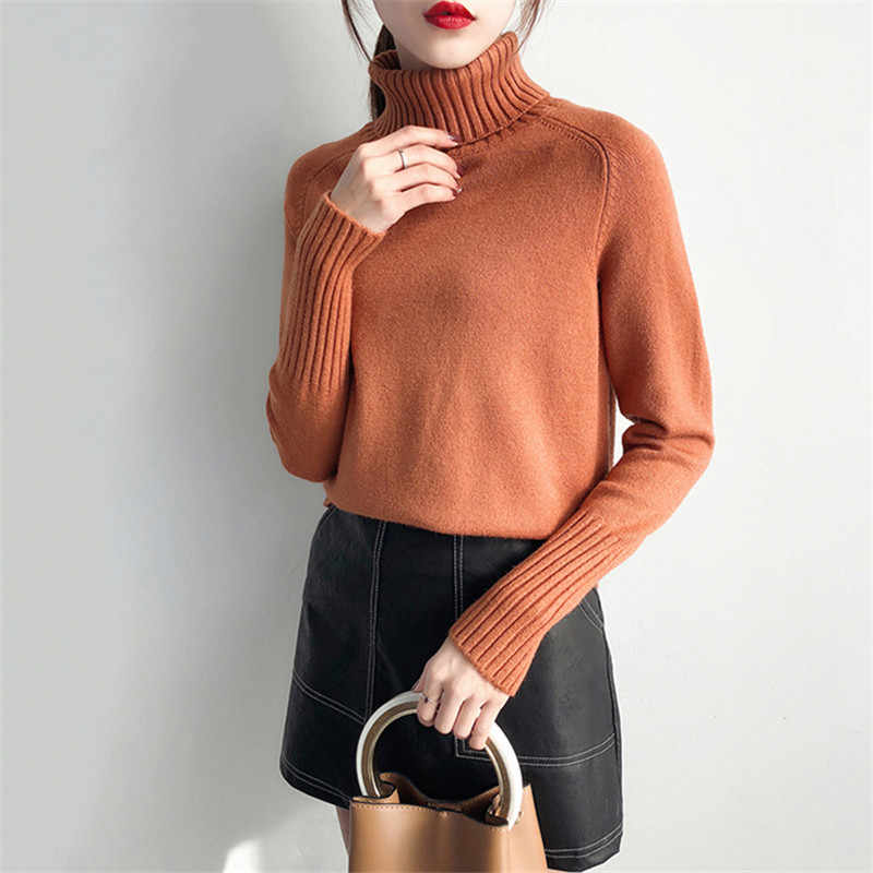 Women Sweater Autumn Winter New High Collar Pullover Knitted Long Sleeve Loose Ladies Sweater 2018 Female Knitted Sweater DT0324