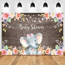 Elephant Baby Shower Photography Backdrop Pink Flower Cute Animal Background Wood Party Dessert Table Decorate Props