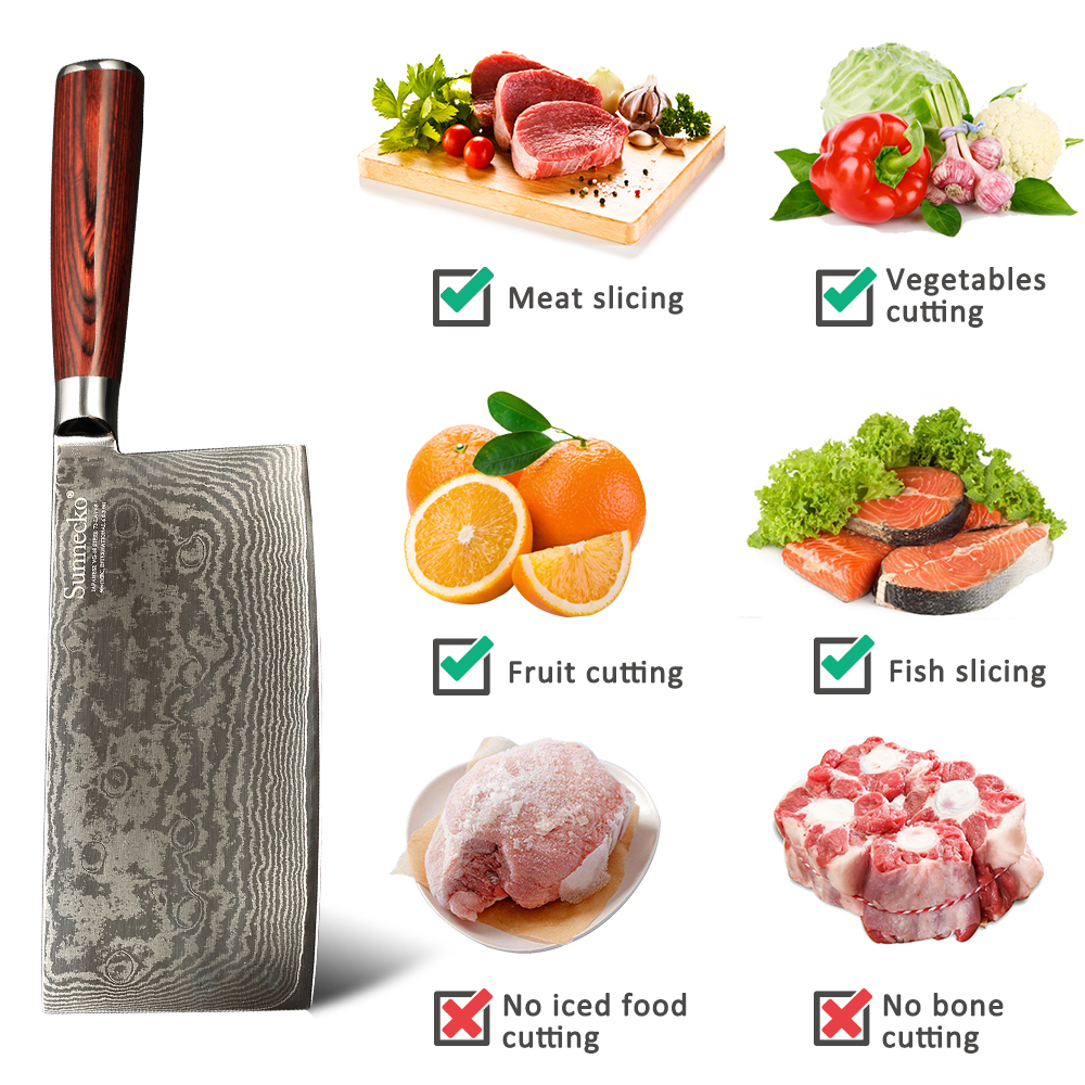 SUNNECKO 7 quot inch Cleaver Knife Damascus VG10 Steel Kitchen Chef Knives Japanese Sharp Blade Pakka Wood Handle Meat Cutting Tools in Kitchen Knives from Home amp Garden