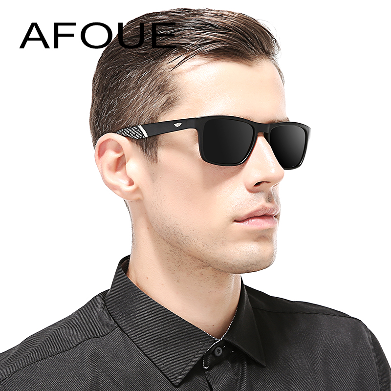 AFOUE Brand Classic Polarized Sunglasses Men Driving Square Black Frame Eyewear Male Aviator Sun Glasses For Men and Women