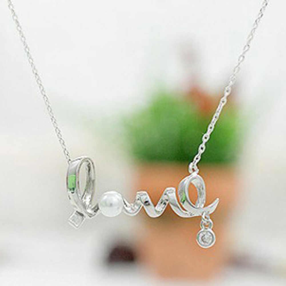 אופנה תכשיטים קוריאנים סגסוגת קולר שרשרת נשים בעדינות סביב מילת אהבת שיק Love לב סיטונאי