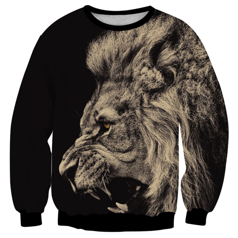 New Mens Sweatshirt Big Lion Animal Print 3D Clothing Cool Sudaderas Hombre Jacket Fashion Design Sweats Tops Homme Hoodies