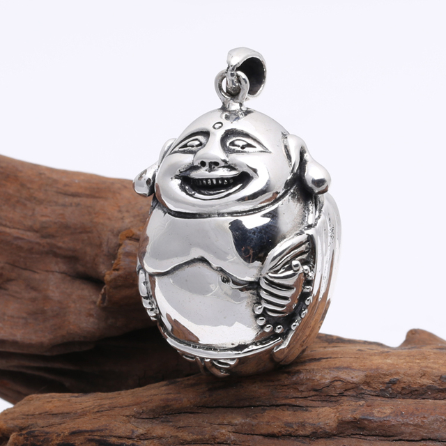 Handcrafted 925 silver tibetan laughing buddha pendant vintage handcrafted 925 silver tibetan laughing buddha pendant vintage sterling silver happy buddha pendant good luck amulet mozeypictures Images