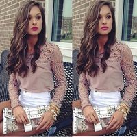 NEW Fashion Women's Loose Casual Hollow Brirf Spring Summer Outwear Chiffon Tops Long Sleeve Tee Shirt Lace Blouse