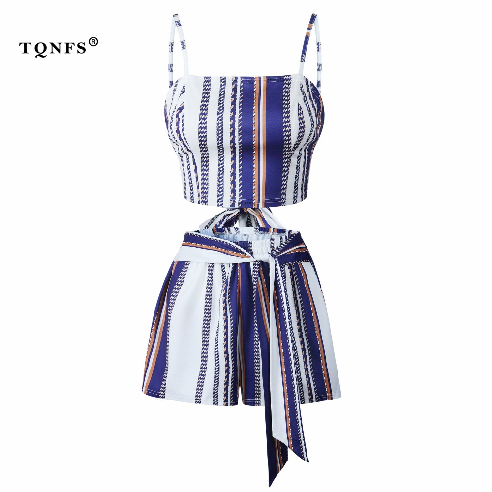 TQNFS Summer Strap Striped Women's Sets Sleeveless 2 Pieces Set Crop Top And Shorts Zipper Fly Two Piece Set Women Clothes