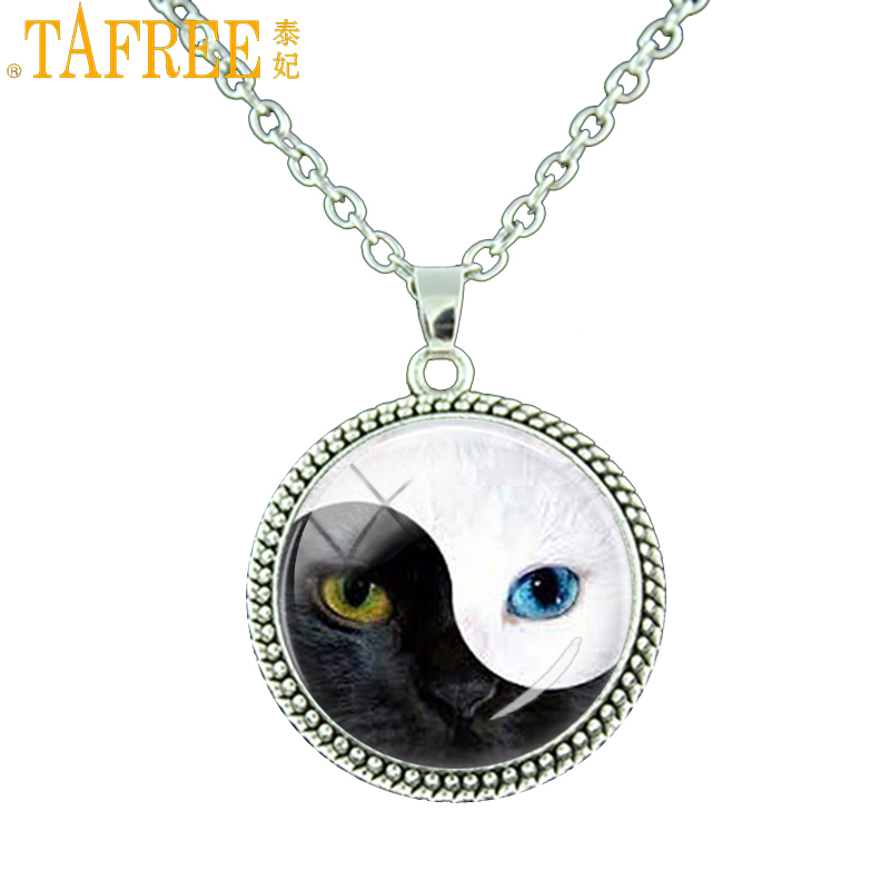 Chain Necklaces Humorous Tafree Yin Yang Blue Eye Cat Glass Pendant Silver Color Chain Necklace Vintage Animal Art Jewelry For Men Women Necklaces Es165 To Prevent And Cure Diseases Jewelry & Accessories