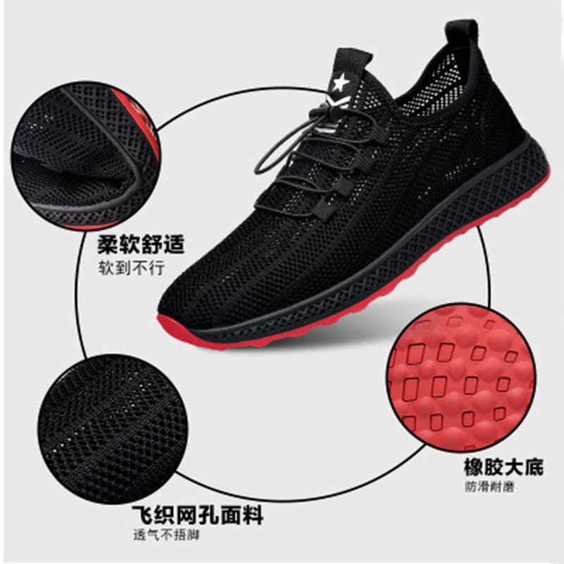 2019 letnie nowe męskie oddychające buty sportowe na co dzień fly tka pusta szmatka z siateczki lekkie buty do biegania męskie buty