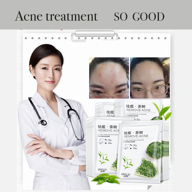 Tea  Face  Mask Acne Facial Oil Control Anti Acne Skin Care Facial  Clear Moisture Sheet Korean Mascarilla Maske Masks