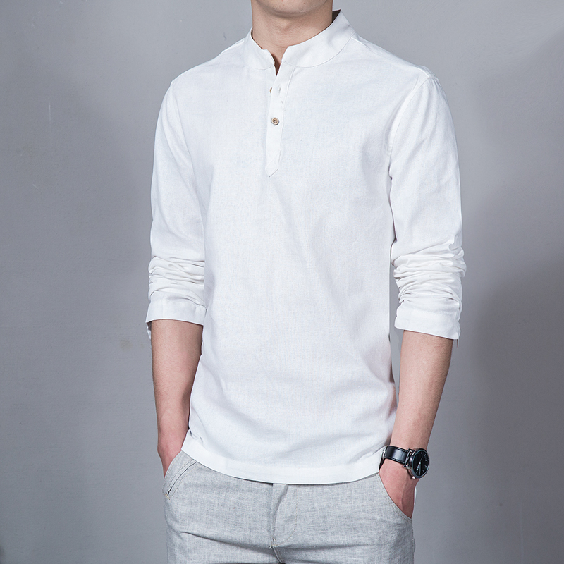 Mens Long Sleeve Cotton Linen Chinese Style Slim Casual Stand Collar Shirt Tops
