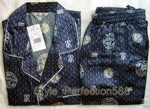Blue Chinese Men s Silk Rayon 2pc Nightwear Robe sleepwear Pyjamas Sets Bath Gown S M