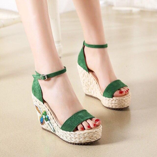Straw Wedges Sandals Waterproof Platform Thick Bottom Comfort Wild Womens Sandals Concise Elegant Small Size High Heels 31,32,33