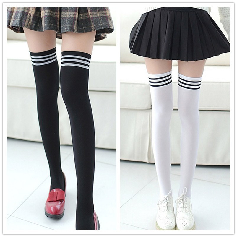 1 Pair Cotton Stripe Stockings Girls Korean Japanese Kawaii Lolita Socks Casual Thigh High Knee Socks Womens Long Socks W5.9