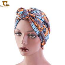 New Women Turban Hat bohemian style top knot turban african twist headwrap Ladies Hair Accessories India Muslim Scarf Cap