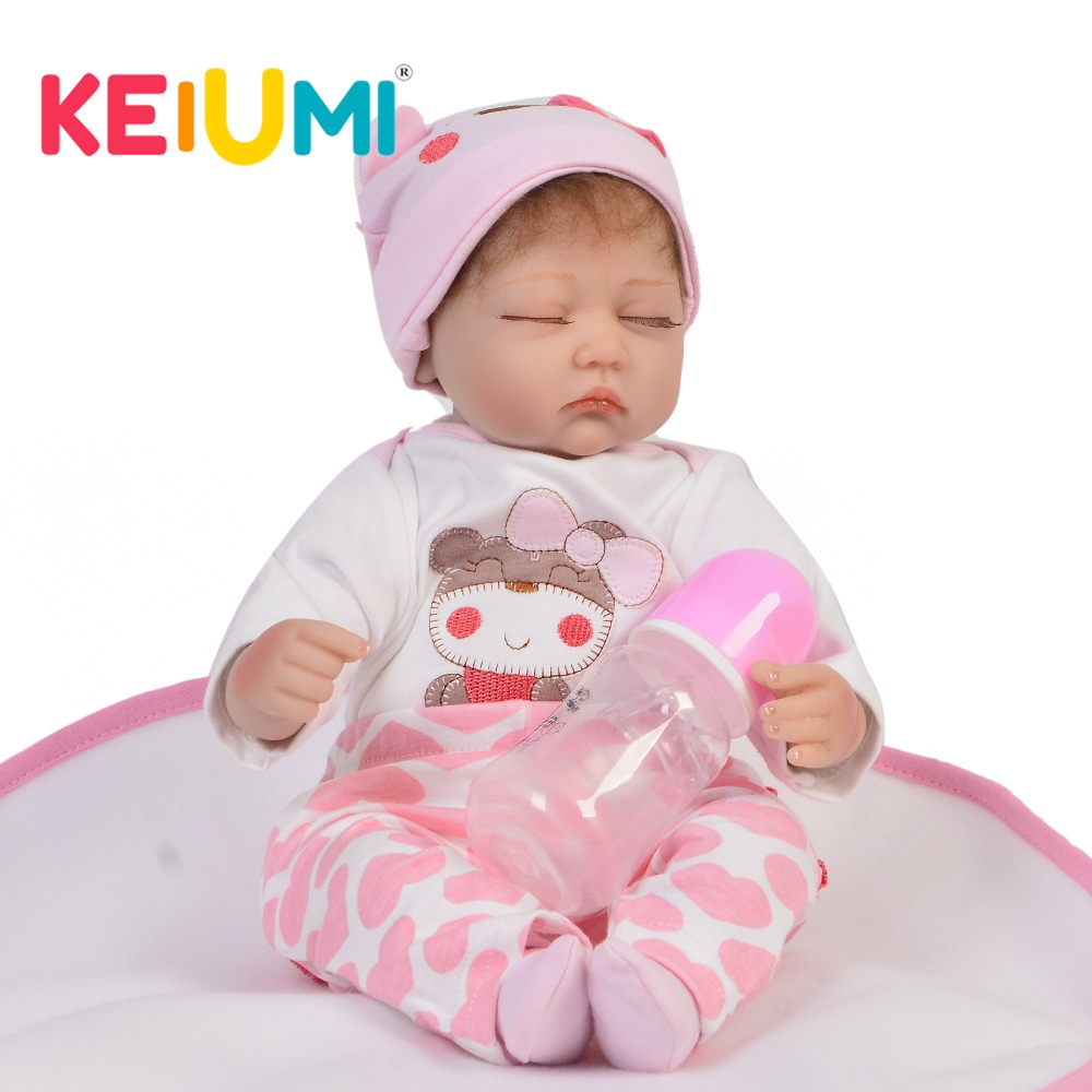 Lovely Close eyes 17 Inch Soft Silicone Vinyl Reborn Baby Dolls Realistic Newborn Toddler 43 cm Stuffed Doll For kids Playmates-in Dolls from Toys & Hobbies    1