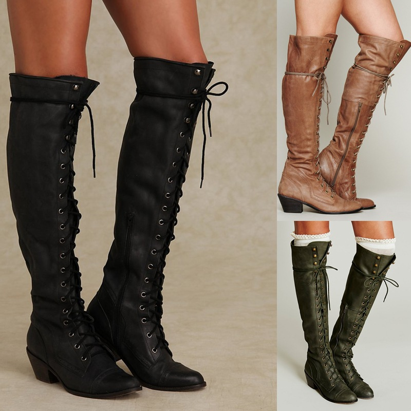 Black Gray Khaki Women Over The Knee Boots High Heels Winter Lace up Ladies Boots Fashion Women Party Motorcycle Boot Large Size