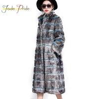 Jade гордость Новинка 2017 года воротник стойка в полоску Искусственный мех пальто толстые теплые моды атмосферу Искусственный мех пальто длин
