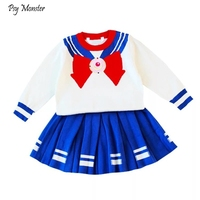 New Sailor Moon Children's Clothing Sets Cotton Cute Kids Long sleeved Sweater Pleated Skirt Suit Girls Knitted Woolen Set