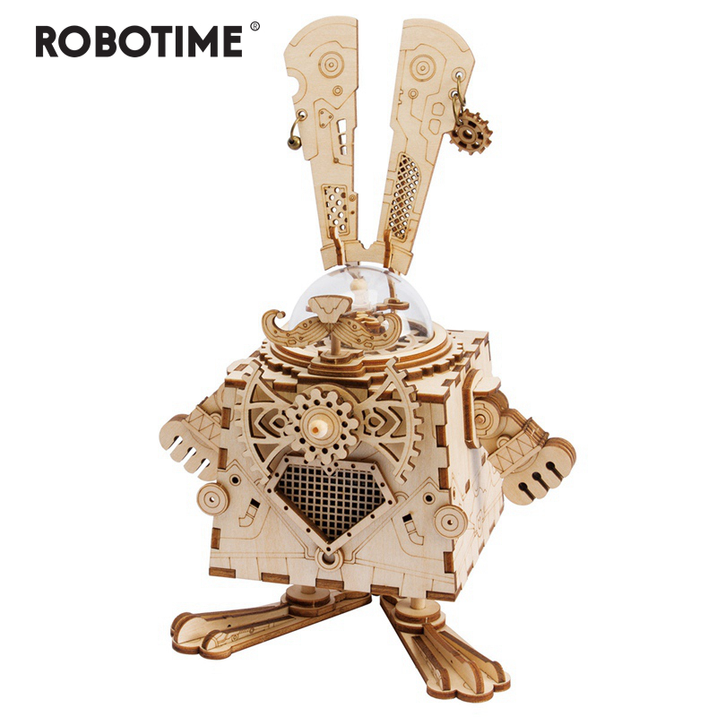 Robotime Creative DIY 3D Steampunk Rabbit Wooden Puzzle Game Assembly Music Box Toy Gift for Children Teens  AM481
