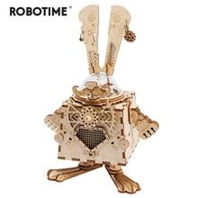 Steampunk 3D Robotime กระต่ายไม้เกมปริศนาประกอบเพลงกล่องของเล่นเด็กวัยรุ่นผู้ใหญ่