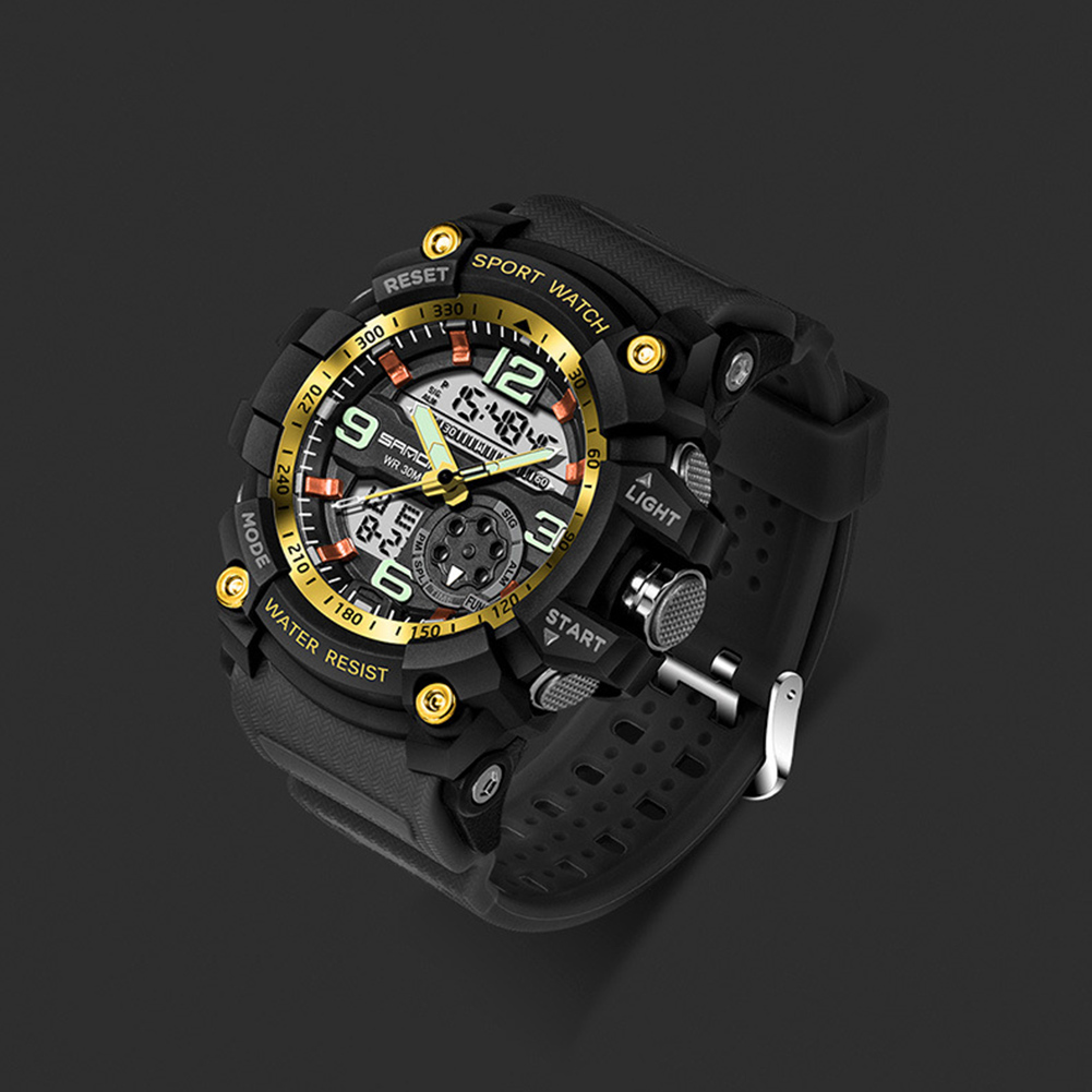 Digital Analog Dual Time Sport Watch Zones Calendar Chronograph Military Resin Wrist Watch Men 43