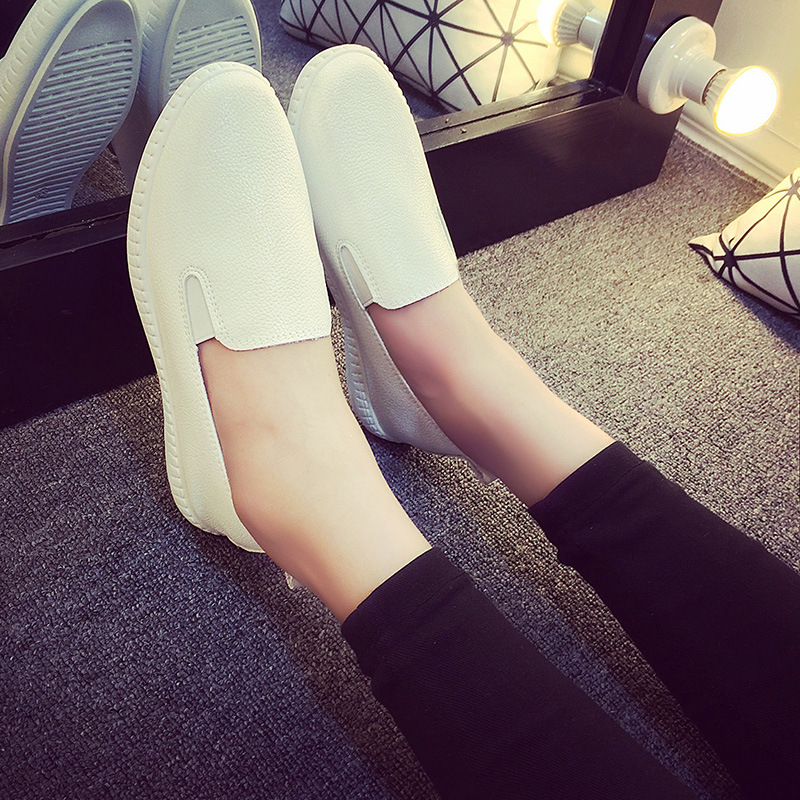 Casual Flat Shoes Woman 2018 Spring Solid Loafers Slip On Flats Fashion Round Toe Women Shoes 3 Colors Size 35-40 89k 2017 spring women flats pu leather shoes woman pointed toe slip on platform loafers woman creepers casual shoes size 35 40