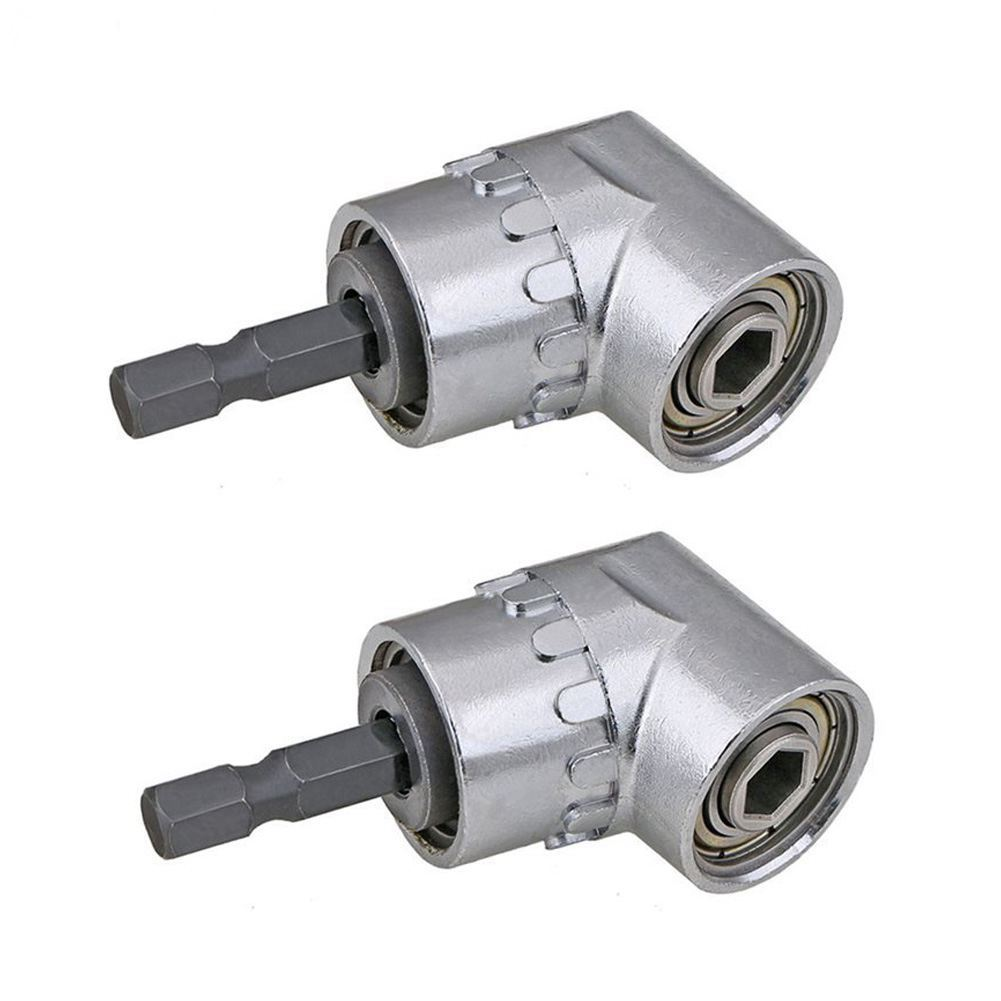 2PCS Right Angle Drill,105 Degree Multifunction Right Angle Driver With 1/4inch Hex Bit Socket Screwdriver Holder Adapter