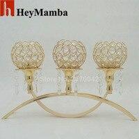 Comercio al por mayor de Oro/Plata Plateado Candelabros de Mesa de Metal de La Vendimia Con El Colgante de Cristal Titular de la Vela De La Boda Decoración de Velas