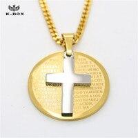 In Acciaio Inox Preghiera del Signore Bibbia e la Croce Ciondolo Medaglione Collana, argento Oro Two-Tone 24