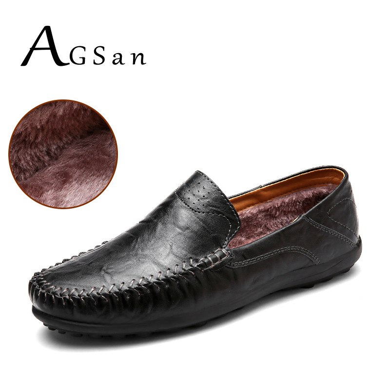 AGSan italian handmade winter men split leather casual shoes fur warm slip on loafers plush driving shoes moccasins black brown branded men s penny loafes casual men s full grain leather emboss crocodile boat shoes slip on breathable moccasin driving shoes